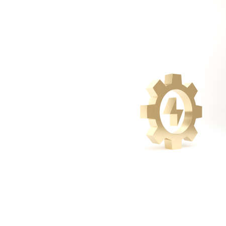 Gold Gear and lightning icon isolated on white background. Electric power. Lightning bolt sign. 3d illustration 3D render