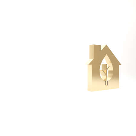 Gold Eco friendly house icon isolated on white background. Eco house with leaf. 3d illustration 3D render