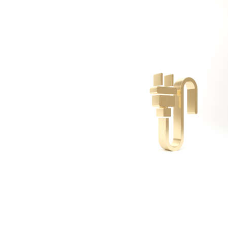 Gold Electric plug icon isolated on white background. Concept of connection and disconnection of the electricity. 3d illustration 3D render