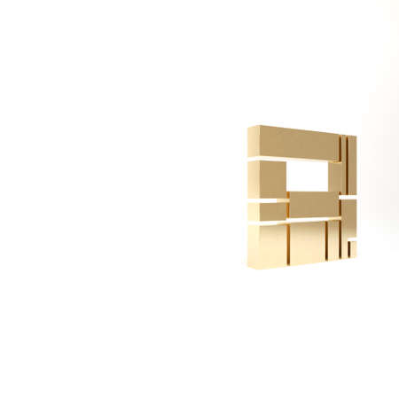 Gold House Edificio Mirador icon isolated on white background. Mirador social housing by MVRDV architects in Madrid, Spain. 3d illustration 3D render Reklamní fotografie