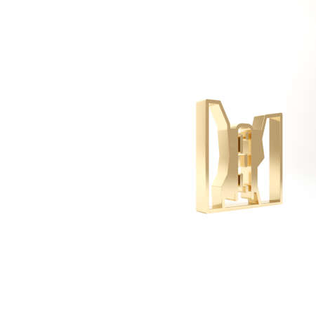 Gold Algar waterfall icon isolated on white background. Region Alicante. Spain. 3d illustration 3D render