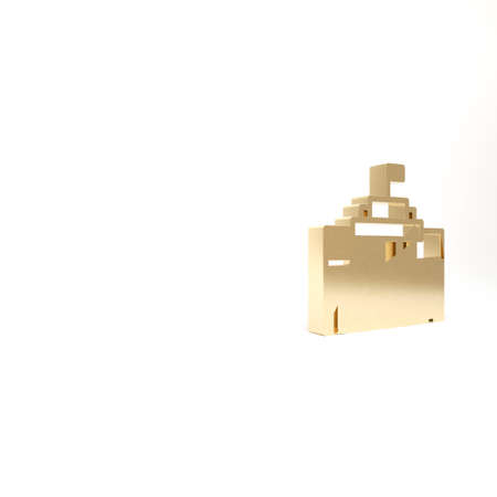 Gold Prado museum icon isolated on white background. Madrid, Spain. 3d illustration 3D render 写真素材