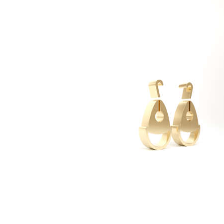 Gold Earrings icon isolated on white background. Jewelry accessories. 3d illustration 3D render Reklamní fotografie