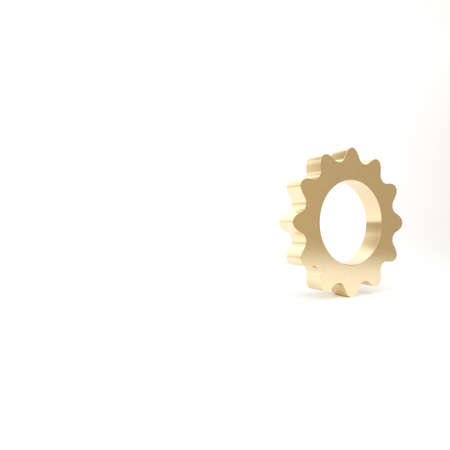 Gold Sun icon isolated on white background. Summer symbol. Good sunny day. 3d illustration 3D render