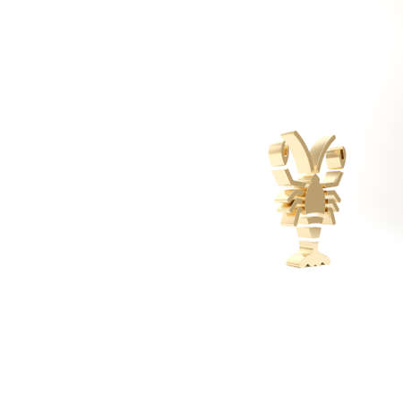 Gold Lobster icon isolated on white background. 3d illustration 3D render