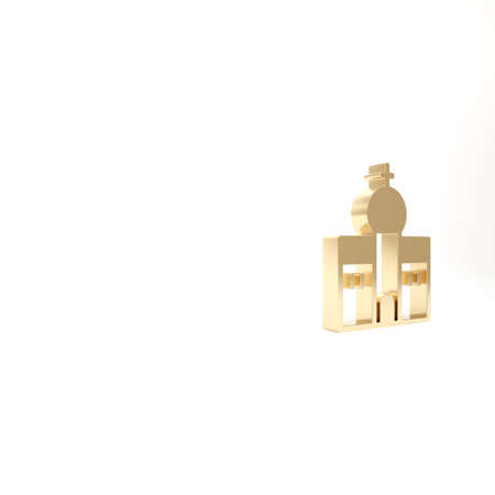 Gold Church building icon isolated on white background. Christian Church. Religion of church. 3d illustration 3D render