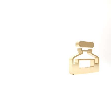 Gold Ink bottle icon isolated on white background. Calligraphy supplies for fountain pen. 3d illustration 3D render 版權商用圖片