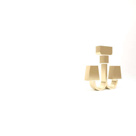Gold Chandelier icon isolated on white background. 3d illustration 3D render Banco de Imagens