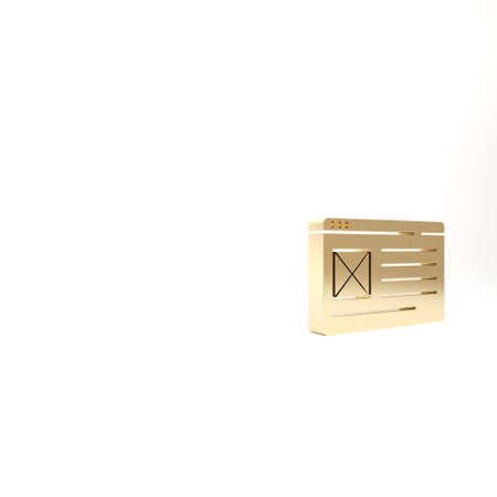 Gold Browser window icon isolated on white background. 3d illustration 3D render 免版税图像