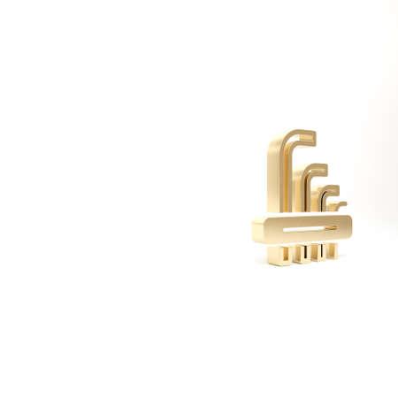 Gold Tool allen keys icon isolated on white background. 3d illustration 3D render