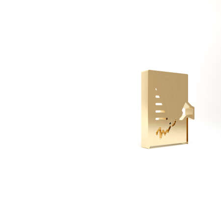 Gold Petition icon isolated on white background. 3d illustration 3D render