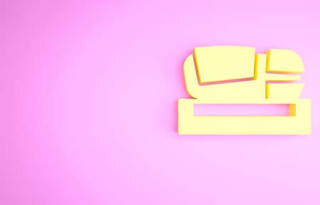 Yellow Stadium Mestalla icon isolated on pink background. Football stadium in Valencia, Spain. Minimalism concept. 3d illustration 3D render