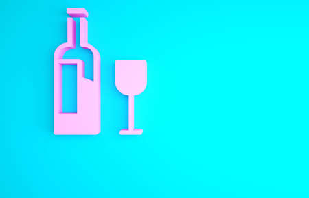 Pink Wine bottle with glass icon isolated on blue background. Minimalism concept. 3d illustration 3D render 写真素材