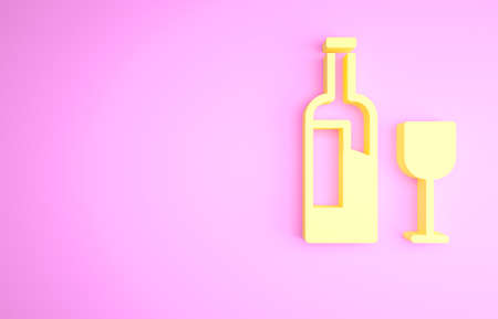 Yellow Wine bottle with glass icon isolated on pink background. Minimalism concept. 3d illustration 3D render