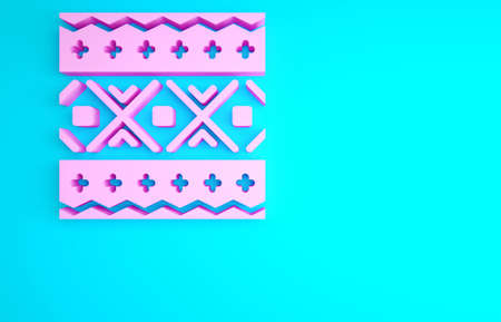 Pink Ukrainian ethnic pattern for embroidery icon isolated on blue background. Traditional folk art knitted embroidery pattern. Minimalism concept. 3d illustration 3D render