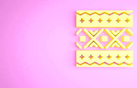 Yellow Ukrainian ethnic pattern for embroidery icon isolated on pink background. Traditional folk art knitted embroidery pattern. Minimalism concept. 3d illustration 3D render