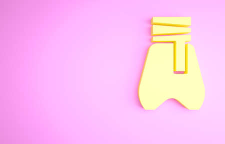 Yellow Cossack pants with a belt icon isolated on pink background. Cossack bloomers. Minimalism concept. 3d illustration 3D render