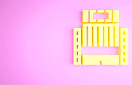 Yellow Hotel Ukraina building icon isolated on pink background. Minimalism concept. 3d illustration 3D render