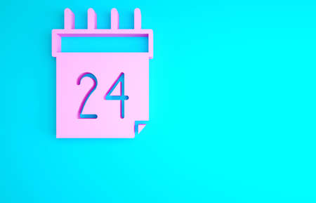 Pink Independence day of Ukraine celebration on August 24 icon isolated on blue background. Minimalism concept. 3d illustration 3D render