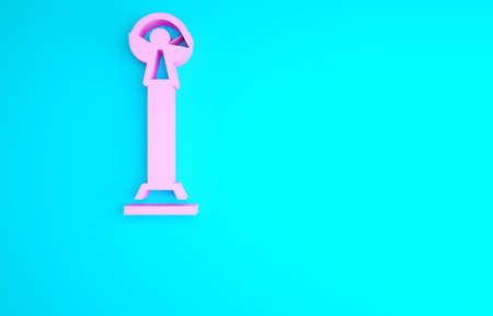 Pink Monument of Independence in Kiev icon isolated on blue background. Kyiv, Ukraine. Minimalism concept. 3d illustration 3D render Archivio Fotografico
