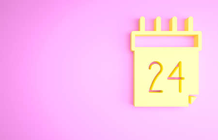Yellow Independence day of Ukraine celebration on August 24 icon isolated on pink background. Minimalism concept. 3d illustration 3D render