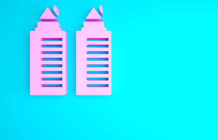 Pink Two tall residential towers in the Dnipro city icon isolated on blue background. Minimalism concept. 3d illustration 3D render
