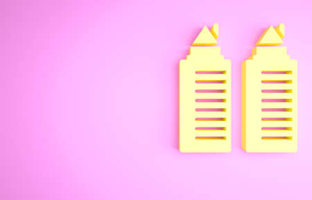 Yellow Two tall residential towers in the Dnipro city icon isolated on pink background. Minimalism concept. 3d illustration 3D render