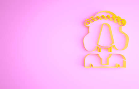 Yellow Ukrainian woman in traditional clothes icon isolated on pink background. Minimalism concept. 3d illustration 3D render