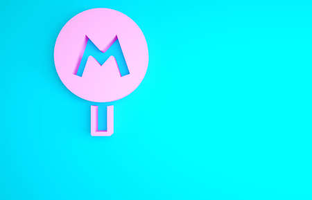 Pink Metro or Underground or Subway icon isolated on blue background. Minimalism concept. 3d illustration 3D render Archivio Fotografico