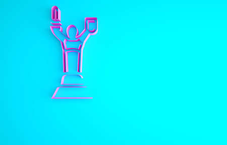 Pink Mother Motherland monument in Kiev, Ukraine icon isolated on blue background. Minimalism concept. 3d illustration 3D render Archivio Fotografico