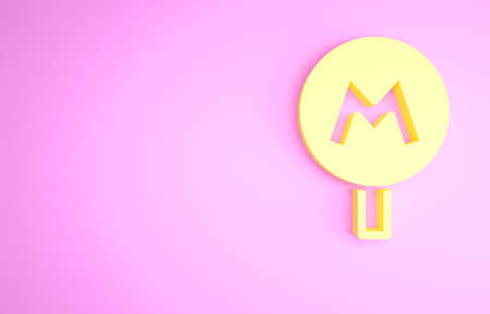 Yellow Metro or Underground or Subway icon isolated on pink background. Minimalism concept. 3d illustration 3D render Archivio Fotografico