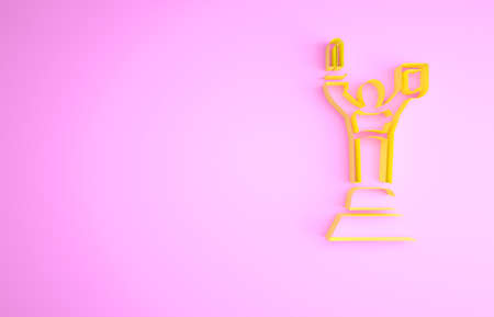 Yellow Mother Motherland monument in Kiev, Ukraine icon isolated on pink background. Minimalism concept. 3d illustration 3D render