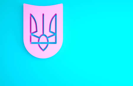 Pink National emblem of Ukraine icon isolated on blue background. Ukrainian trident. Minimalism concept. 3d illustration 3D render Archivio Fotografico