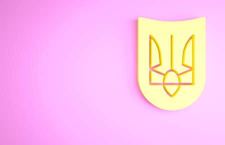 Yellow National emblem of Ukraine icon isolated on pink background. Ukrainian trident. Minimalism concept. 3d illustration 3D render