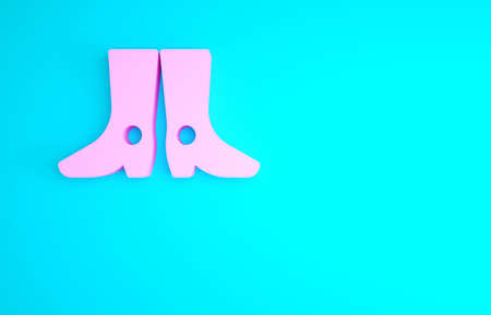 Pink Ukrainian national footwear icon isolated on blue background. Traditional ethnic boots. Minimalism concept. 3d illustration 3D render
