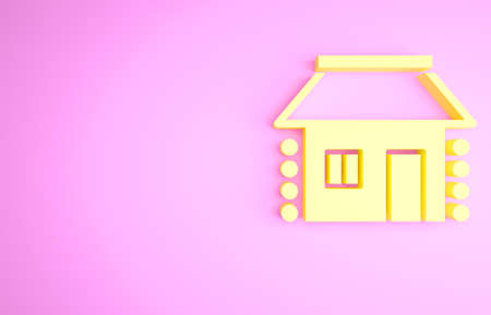 Yellow Old Ukrainian house hut icon isolated on pink background. Traditional village house. Minimalism concept. 3d illustration 3D render