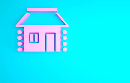 Pink Old Ukrainian house hut icon isolated on blue background. Traditional village house. Minimalism concept. 3d illustration 3D render