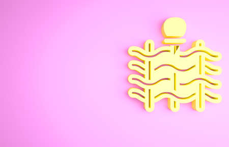 Yellow Wicker fence of thin rods with old clay jars icon isolated on pink background. Minimalism concept. 3d illustration 3D render