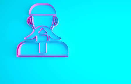 Pink Ukrainian cossack icon isolated on blue background. Minimalism concept. 3d illustration 3D render