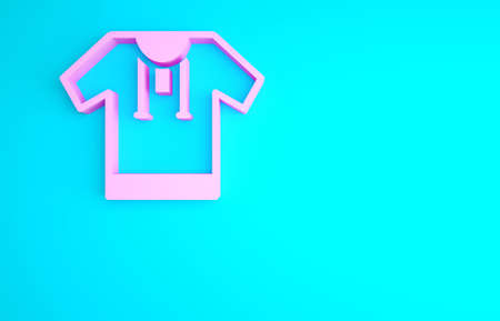 Pink Embroidered shirt icon isolated on blue background. National ukrainian clothing. Minimalism concept. 3d illustration 3D render