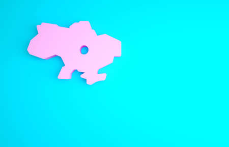 Pink Map of Ukraine icon isolated on blue background. Minimalism concept. 3d illustration 3D render Archivio Fotografico