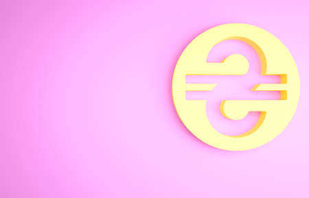 Yellow Ukrainian hryvnia icon isolated on pink background. Minimalism concept. 3d illustration 3D render