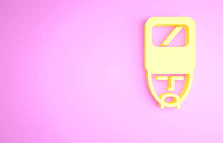 Yellow Ukrainian cossack icon isolated on pink background. Minimalism concept. 3d illustration 3D render