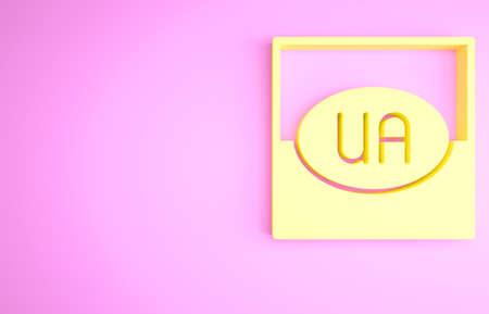 Yellow National flag of Ukraine icon isolated on pink background. Minimalism concept. 3d illustration 3D render Archivio Fotografico