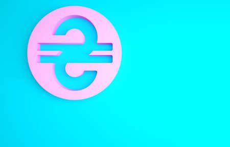 Pink Ukrainian hryvnia icon isolated on blue background. Minimalism concept. 3d illustration 3D render