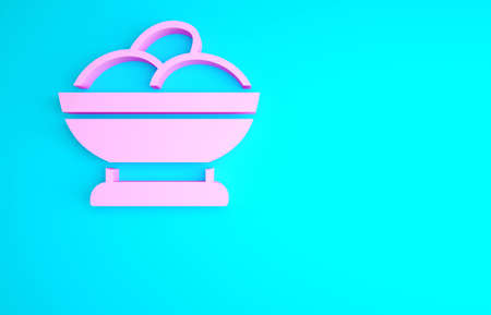 Pink Varenyky in a bowl icon isolated on blue background. Pierogi, varenyky, dumpling, pelmeni, ravioli. Traditional Ukrainian food. Minimalism concept. 3d illustration 3D render