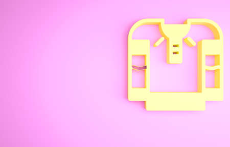 Yellow Embroidered shirt icon isolated on pink background. National ukrainian clothing. Minimalism concept. 3d illustration 3D render