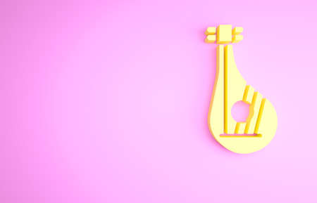Yellow Ukrainian traditional musical instrument bandura icon isolated on pink background. Minimalism concept. 3d illustration 3D render