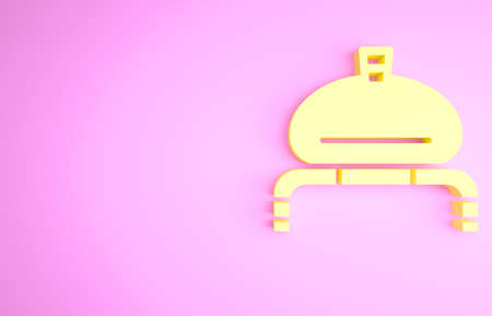 Yellow Bread and salt on towel icon isolated on pink background. National food loaf. Traditional ukrainian wedding bread. Minimalism concept. 3d illustration 3D render