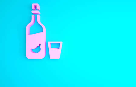 Pink Vodka with pepper and glass icon isolated on blue background. Ukrainian national alcohol. Minimalism concept. 3d illustration 3D render Archivio Fotografico